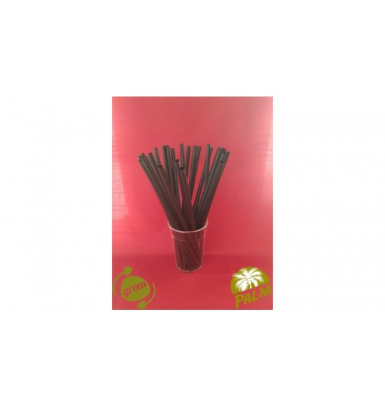 Öko szívószál fekete  kukoricakeményítő 8x250mm 150db/cs 14cs/#