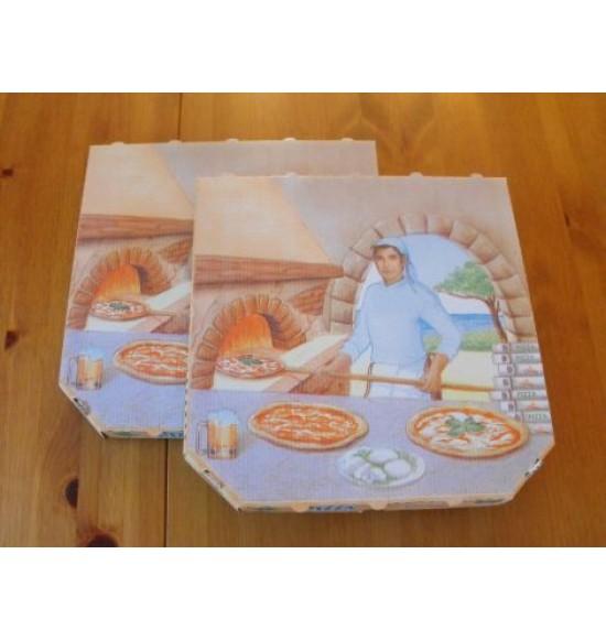 Pizzadoboz 32 cm Barna-fehér 100 db/#