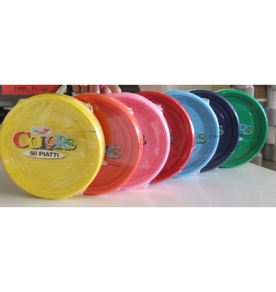 Műanyag SZÍNES desszerttányér 17 cm 50 db/cs